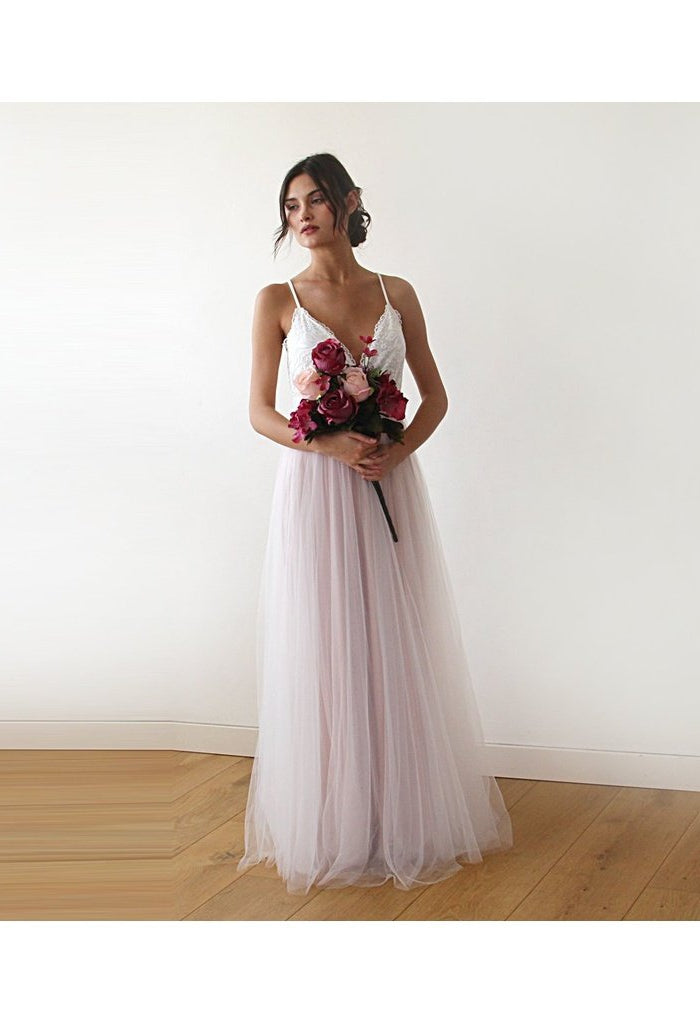 Fairy ivory & pink tulle wedding gown, two colors dress 1185 - Très ...