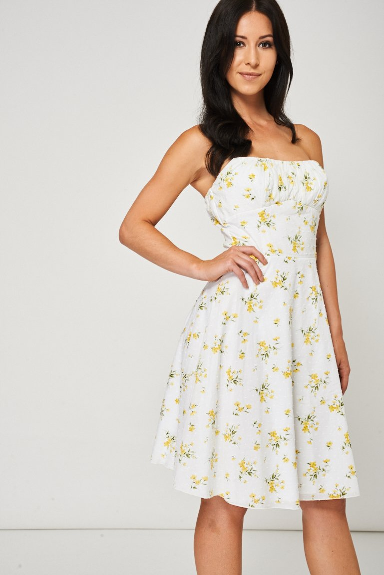 Yellow Floral Pattern Bandeau Dress