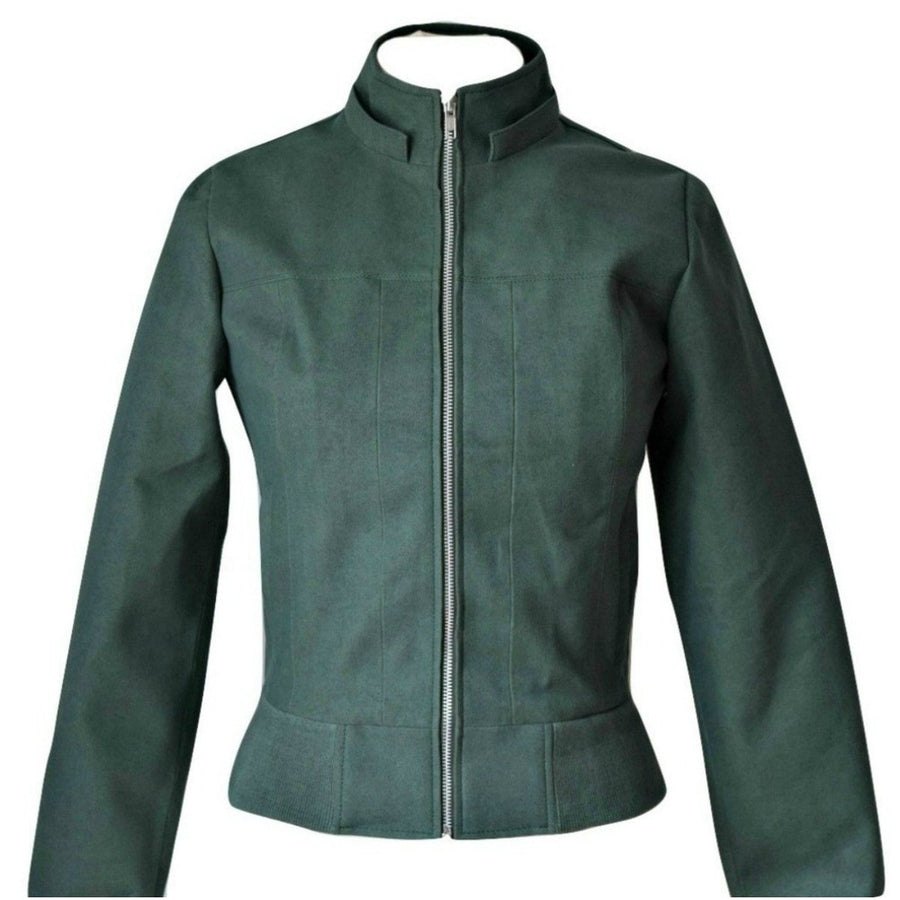 Vegan Fashion Jacket. Faux Suede Bomber Hoodie In Green 'Sarah'-James&Co-XS-Très Fancy