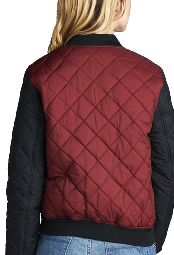 """The Quilted Mix"" Burgundy & Black Padded Bomber Jacket-Women - Apparel - Outerwear - Puffer Coats-A Peace of Mind Jewelry & Boutique-Small-Très Fancy"