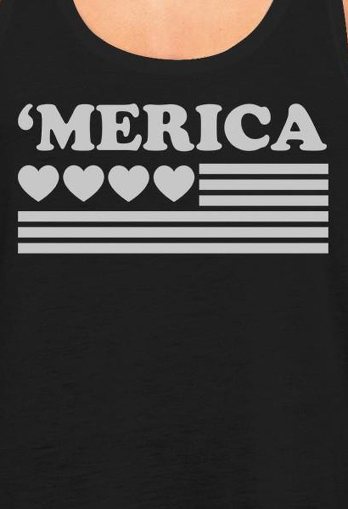 'Merica Women Black Cotton Tank Top Unique American Flag With Heart-Women - Apparel - Activewear - Tops-TSF Design-SMALL-Très Fancy
