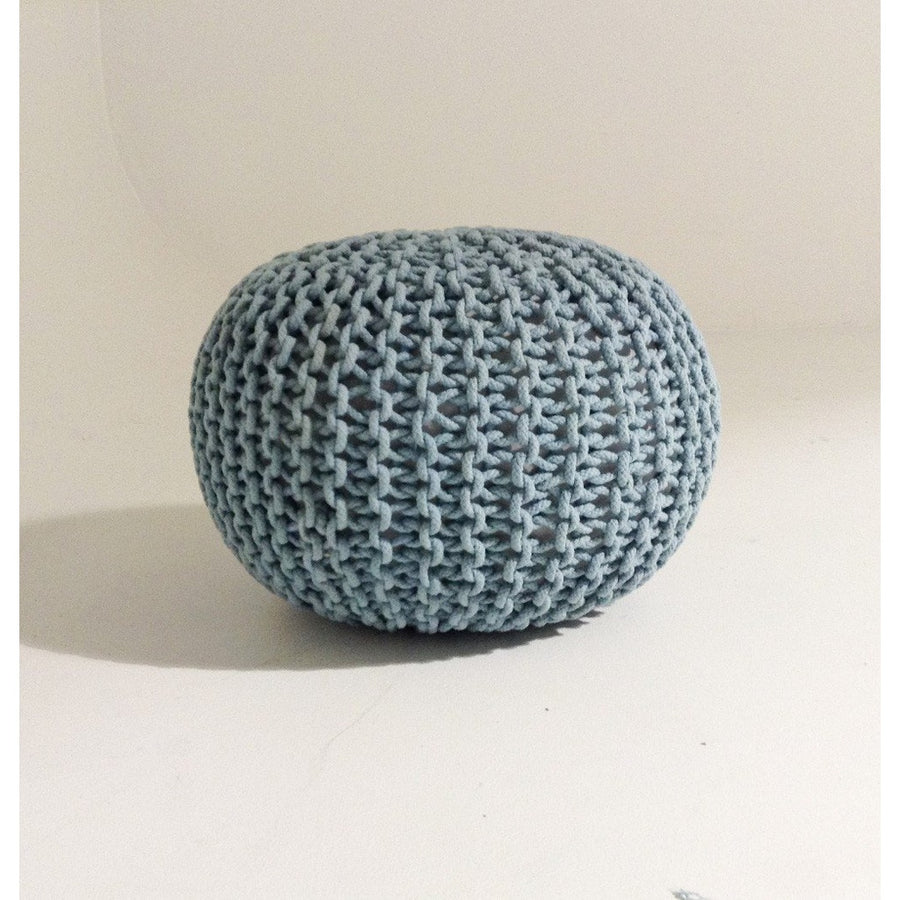 Handmade Round Knitted Pouf | Blue Tint | 50x35cm | GFURN-Home - Furniture-GFURN Design Furniture-Très Fancy