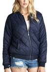 """The Quilted Classic"" Navy Blue Padded Bomber Jacket-Women - Apparel - Outerwear - Puffer Coats-A Peace of Mind Jewelry & Boutique-Small-Très Fancy"
