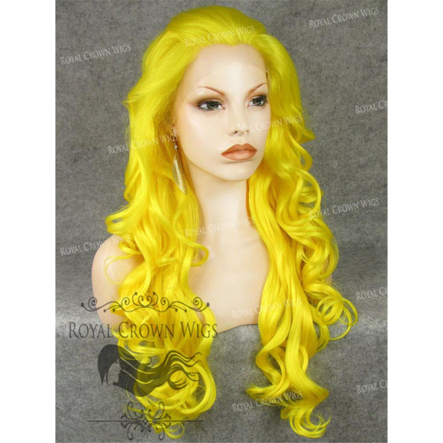 "26 inch Heat Safe Synthetic Lace Front in Curly Texture ""Calypso"" in Yellow"