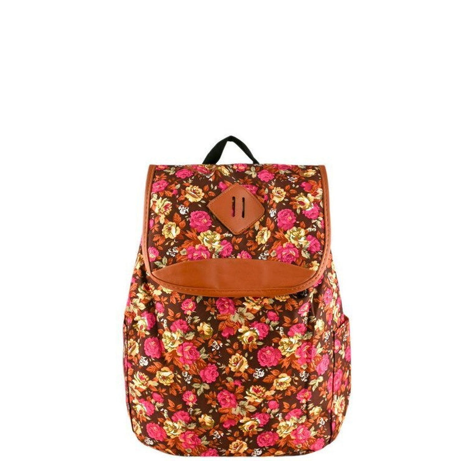 Brown Floral Print Backpack-Women - Bags - Backpacks-Le Chic, LLC-Très Fancy