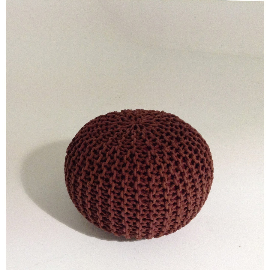 Handmade Round Knitted Pouf | Marsala (Color Of The Year 2015) | 50x35cm | GFURN-Home - Furniture-GFURN Design Furniture-Très Fancy