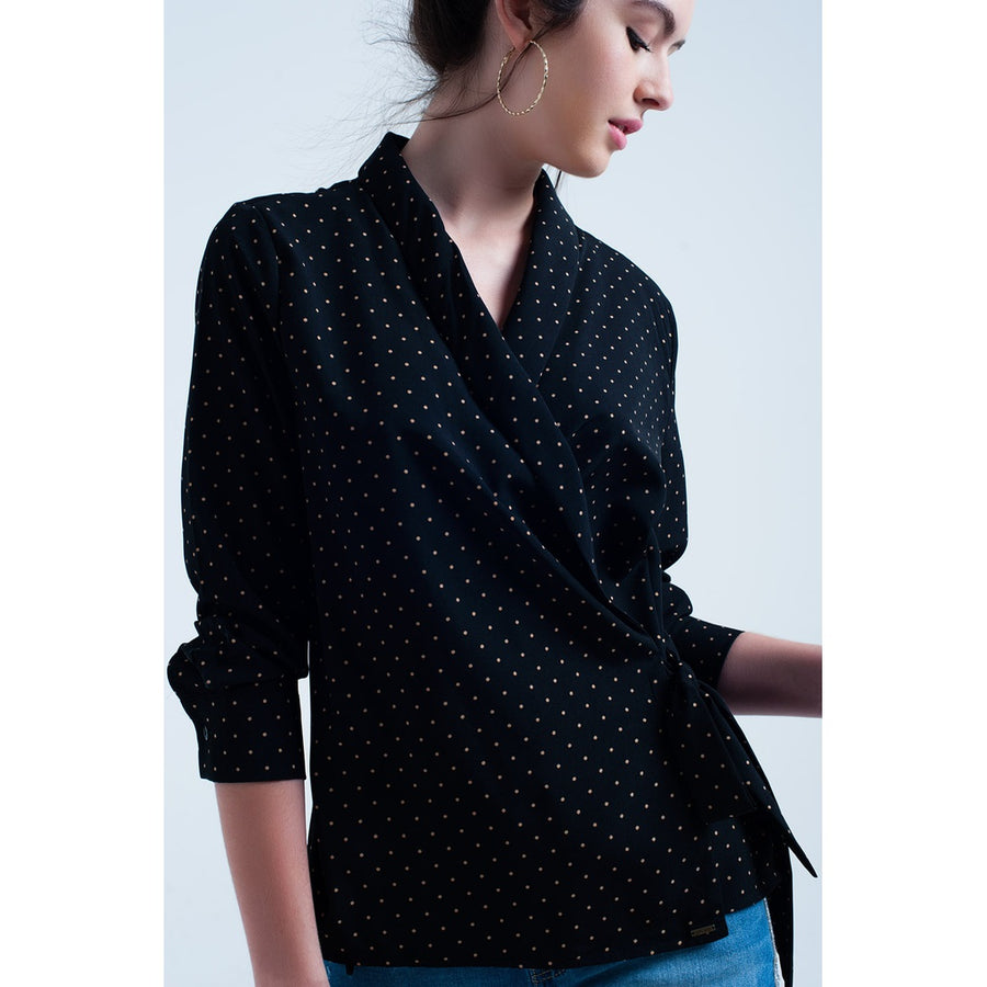 Navy shirt with beige dots