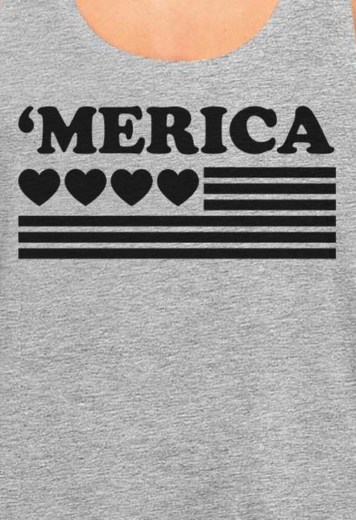 'Merica Womens Black Heart American Flag Design Grey Racerback Tank
