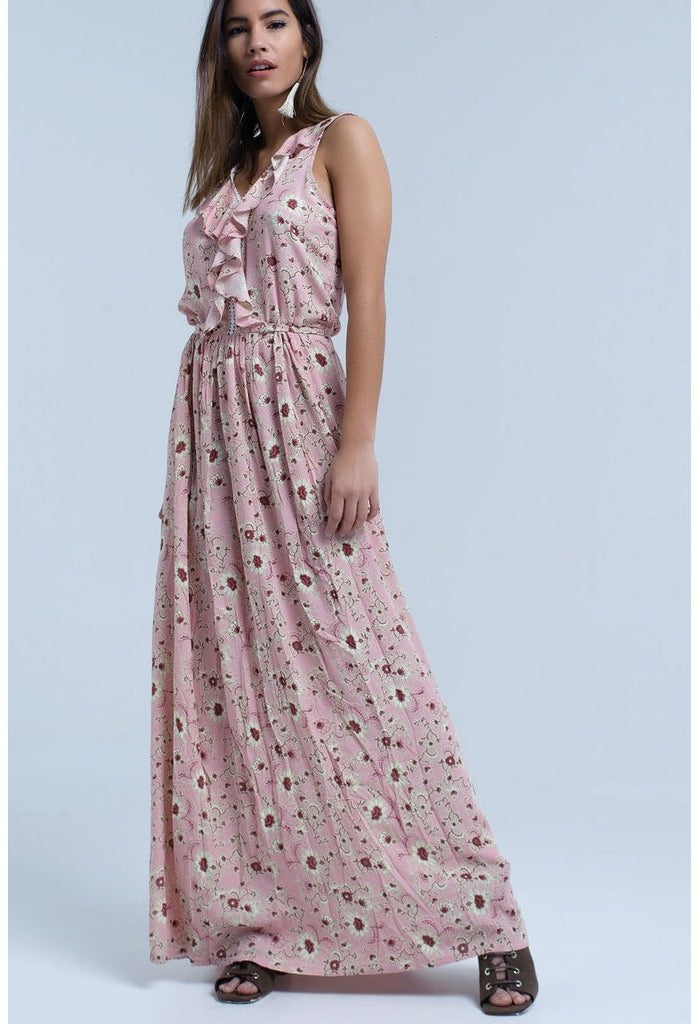 Pink floral print maxi dress with ruffle detail-Women - Apparel - Dresses - Day to Night-Q2-S-Très Fancy