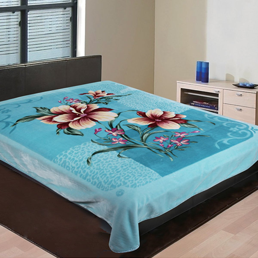 D&B Super-Heavy Weight, Double Ply Plush Cloudy Mink Blanket - Turquoise Floral