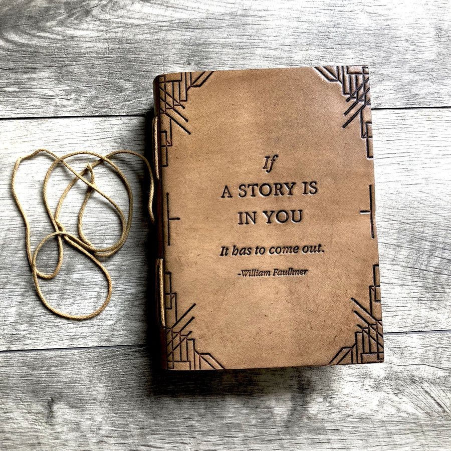 """If A Story"" Handmade Leather Journal-Home - Journals/Notebooks-Soothi-Brown-Très Fancy"