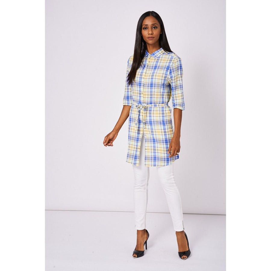Yellow Tiewaist Check Shirt Dress