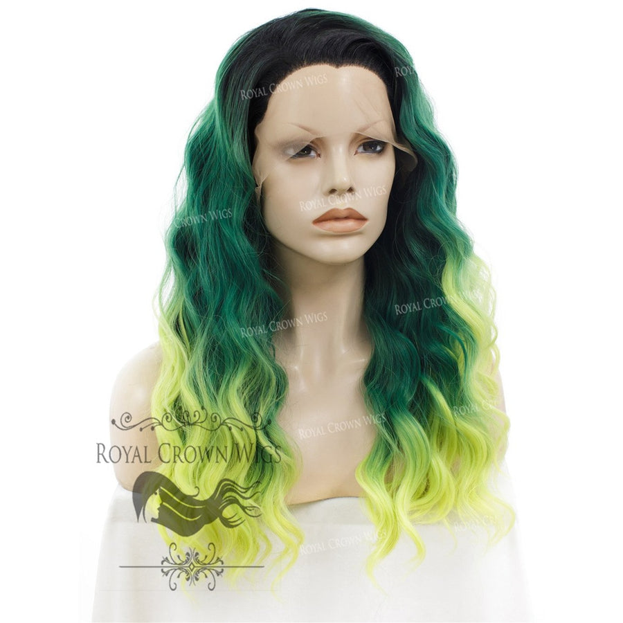 "24 inch Heat Safe Synthetic Lace Front ""Ada"" with Wavy Texture in Green to Yellow Ombre"