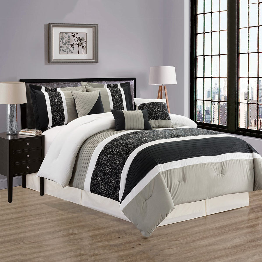 D&B Houston Collection - Luxury 7 Piece Comforter Set