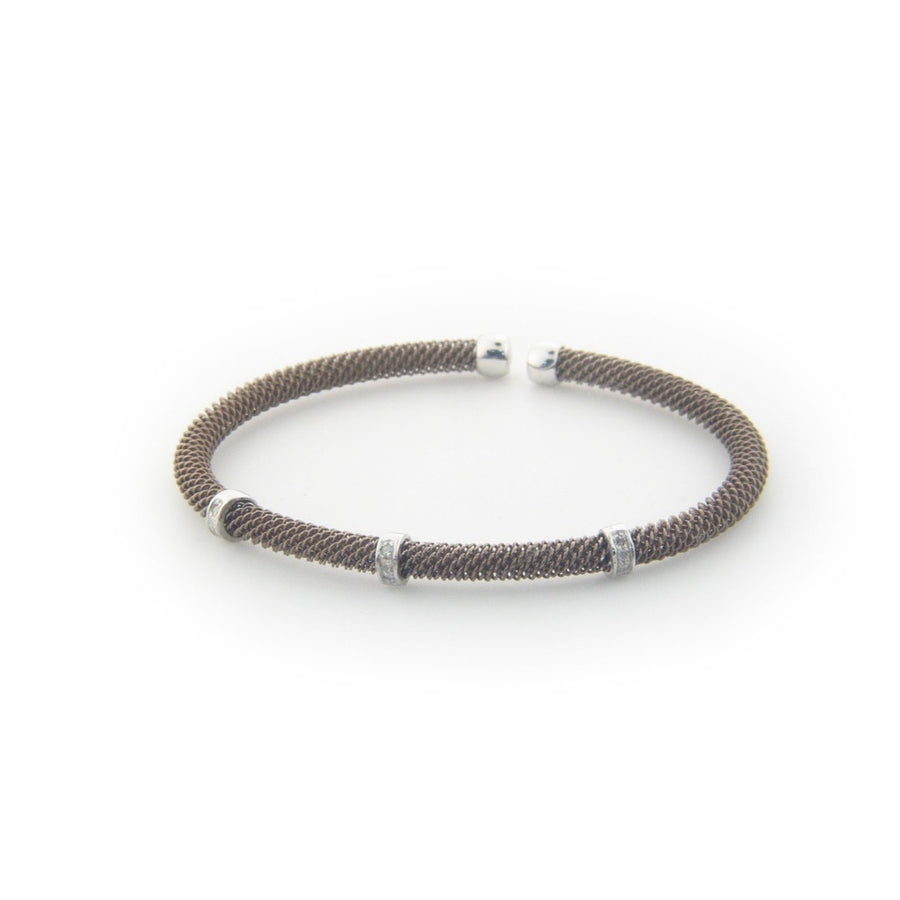 .925 Sterling Silver Diamond Bangle Mesh Bracelet dipped in Chocolate Gold ( 0.10 cttw)-Women - Jewelry - Bracelets-Fronay Collection-Très Fancy