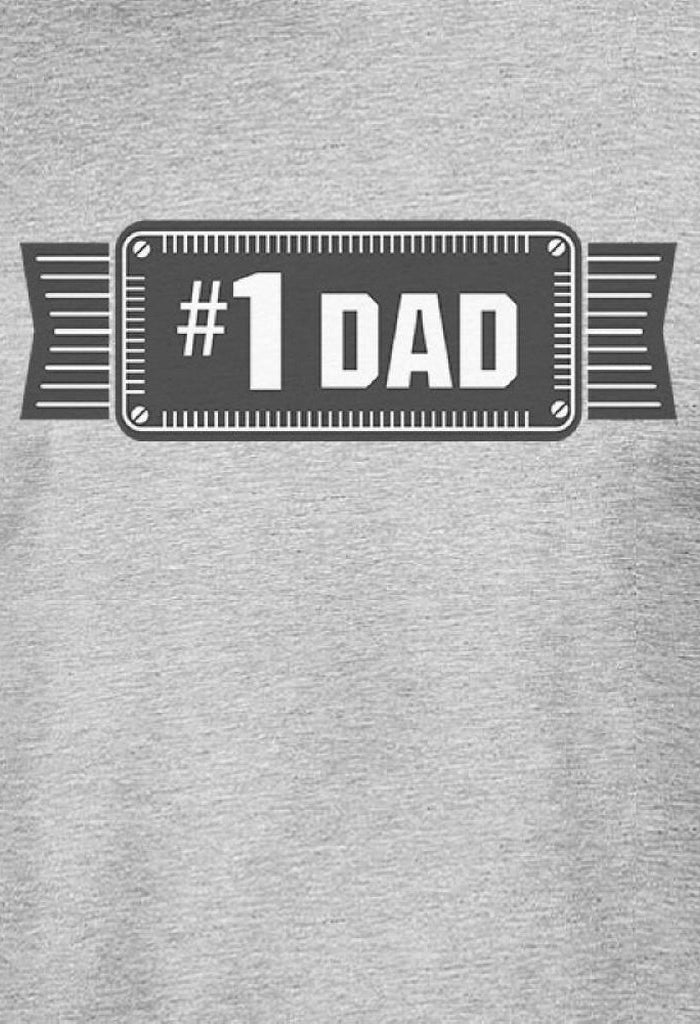 #1 Dad Mens Grey Cotton Graphic T-Shirt Unique Design Tee For Dad
