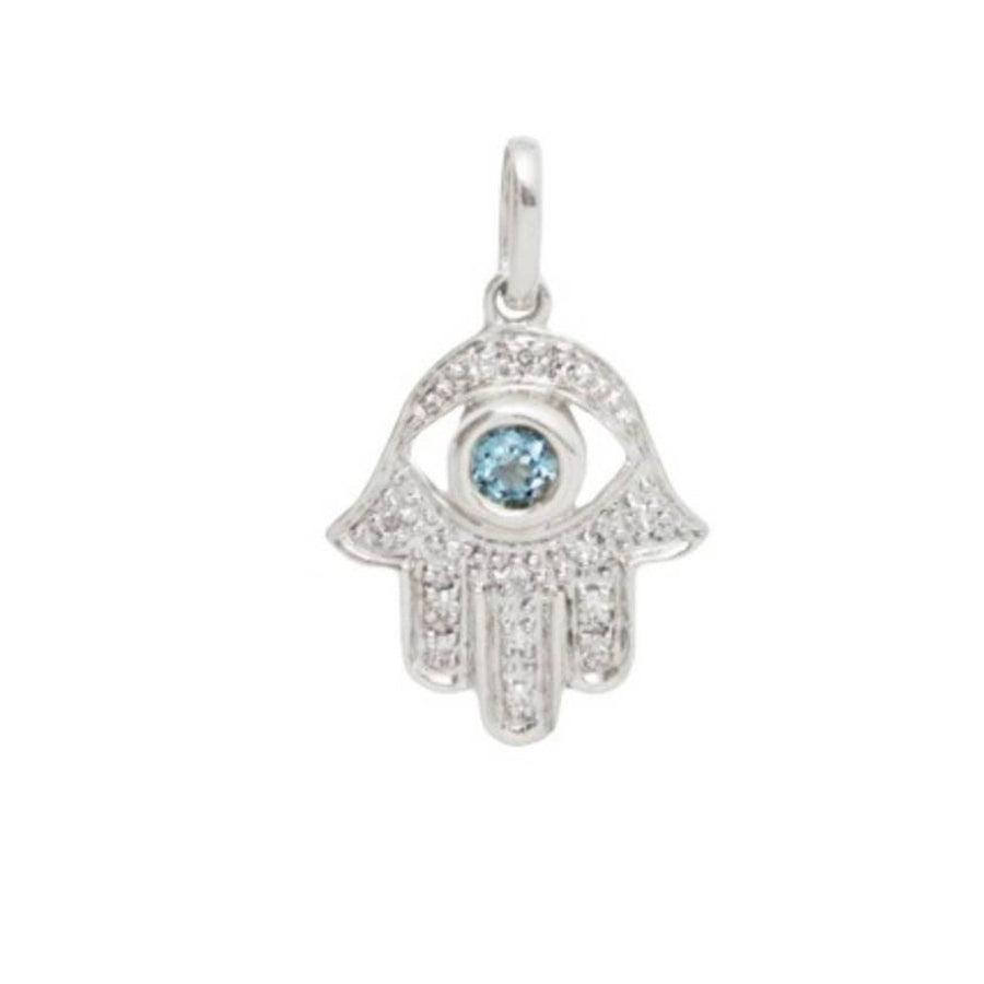 14k White Gold Diamond Hamsa Blue Topaz Necklace-Women - Jewelry - Necklaces-A Peace of Mind Jewelry & Boutique-16 inches-Très Fancy