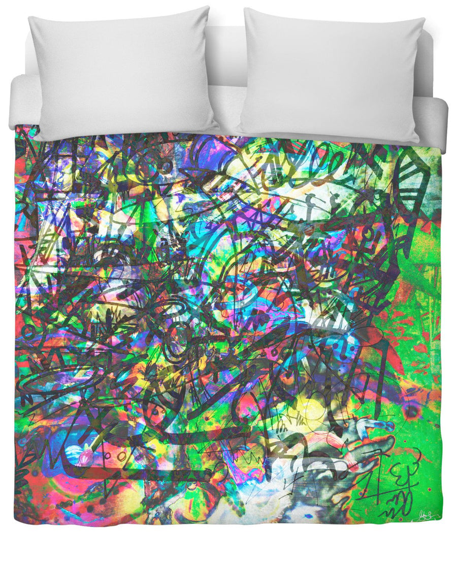 The Real Time Is Now Duvet Cover-Duvet Covers-FaceGlue-Twin-Très Fancy