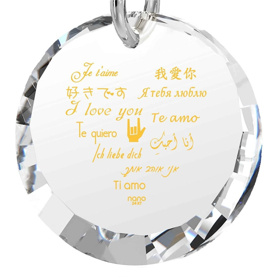 """I Love You"" in 12 Languages, 925 Sterling Silver Necklace, Cubic Zirconia-Women - Jewelry - Necklaces-Nano Gold-Clear Crystal-Très Fancy"