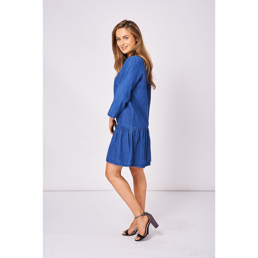 Denim Smock Dress in Midwash Blue Ex-Branded