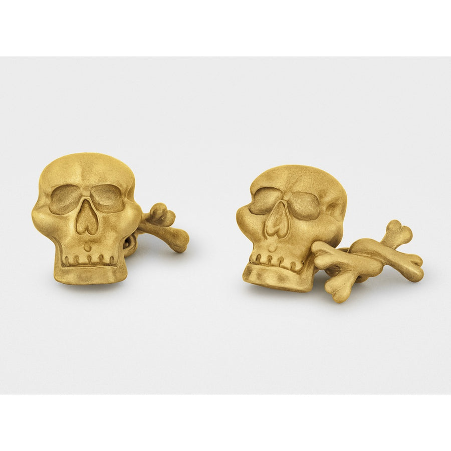 """Jolly Roger"" Skull and Bones Cufflinks in 18K Gold-Men - Jewelry - Cuffs-Snake Bones-Très Fancy"