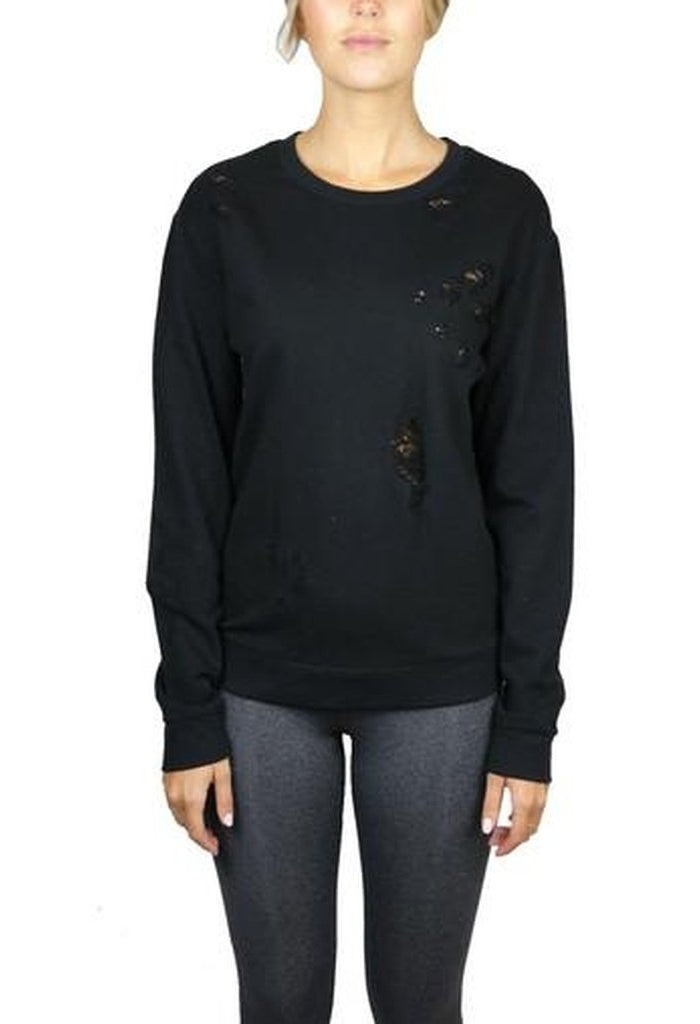 37cfd62d8f 218004 BALANCE DISTRESSED PULLOVER-Women - Apparel - Activewear -  Tops-PRIVILEGE-BLACK