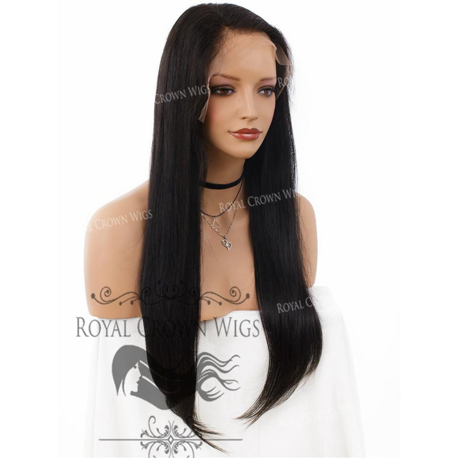 22 Inch Lace Front with Lace Top Human Hair Wig with Straight Texture in Natural Color 130% Density-Beauty - Women's - Hair-Royal Crown Wigs-Très Fancy