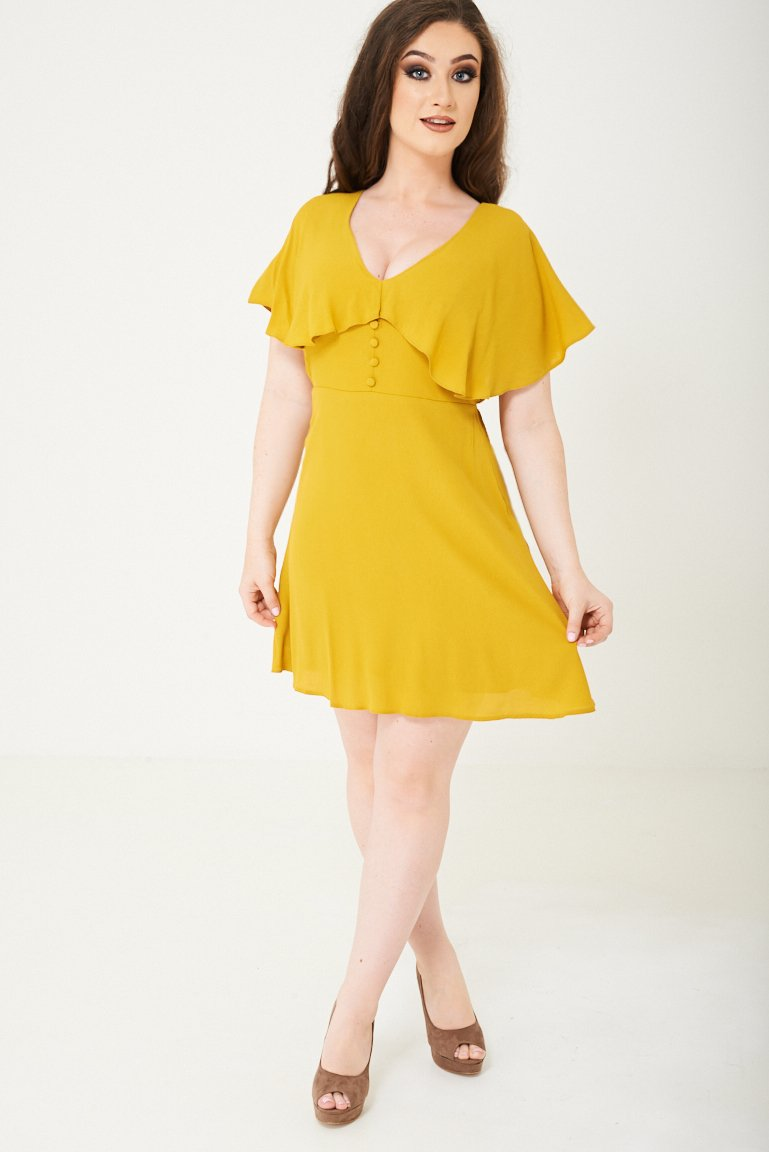Yellow Skater Dress With Ruffle Layer Ex Brand