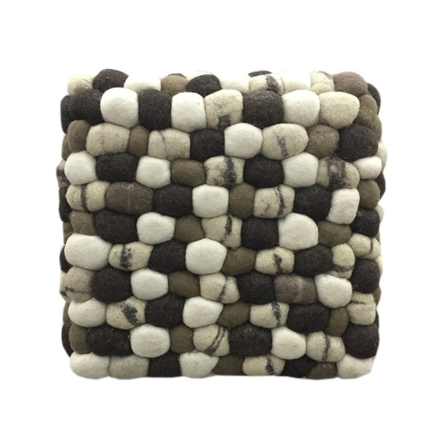 Handmade Woolen Pebble Pouf | Brown | GFURN-Home - Furniture-GFURN Design Furniture-Très Fancy