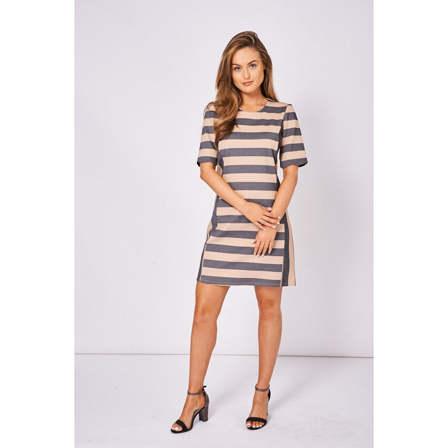 Short Sleeve Stripe Dress Ex Branded