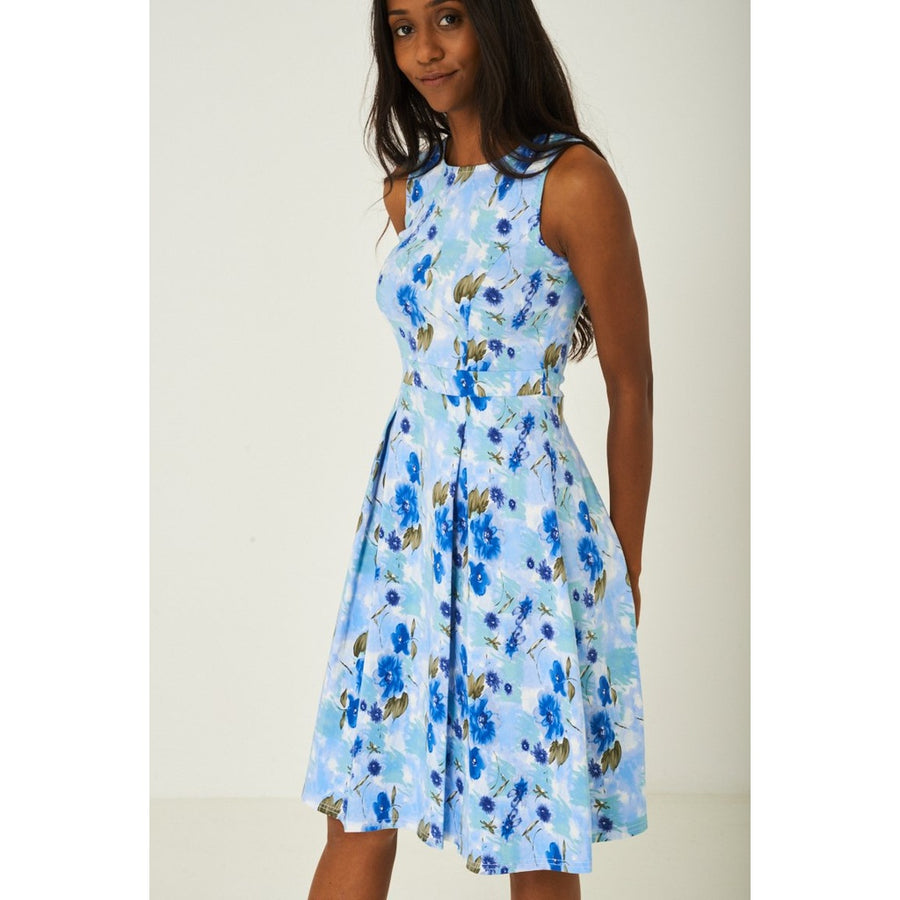 Vintage Floral  Skater Dress with Pleat Detail