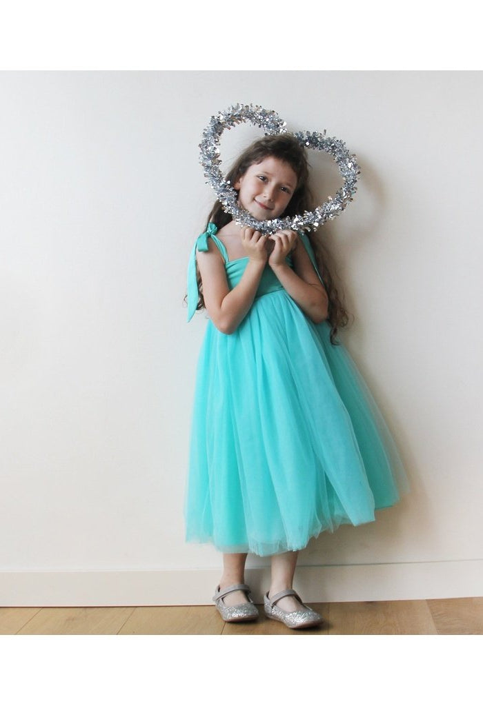 Turquoise Tulle Girls Dress with tie straps 5004