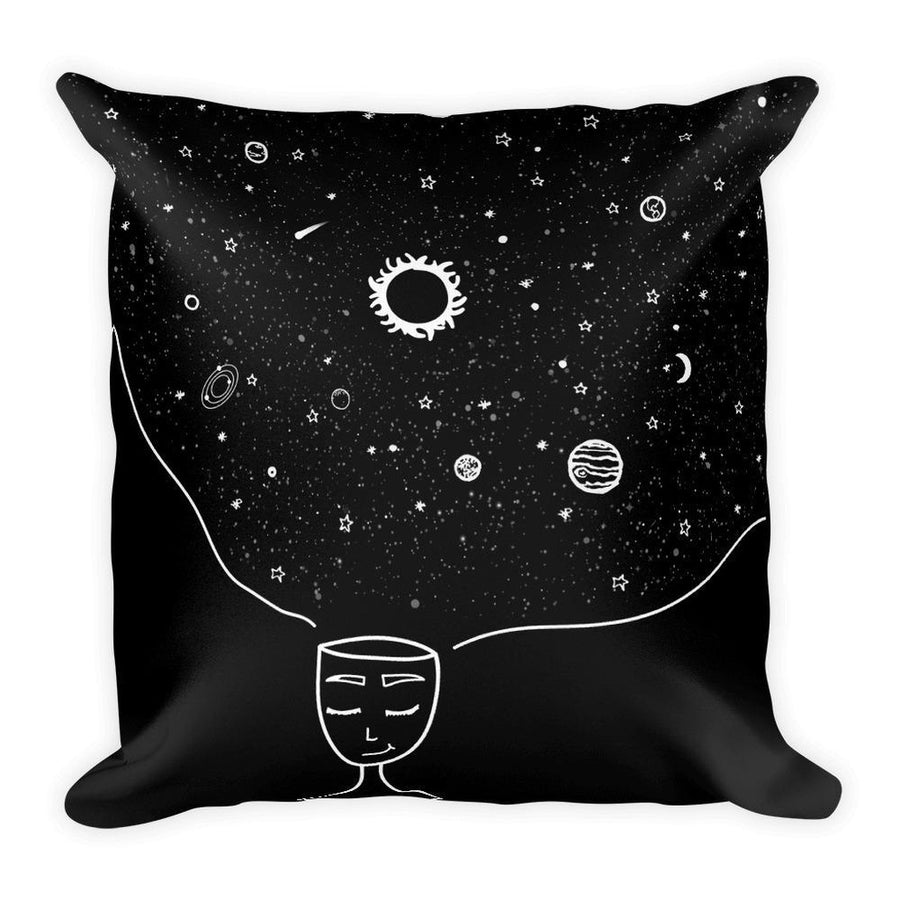 Galaxy in her Mind Square Pillow-Home - Pillows & Throws-Hipster's Wonderland-Très Fancy