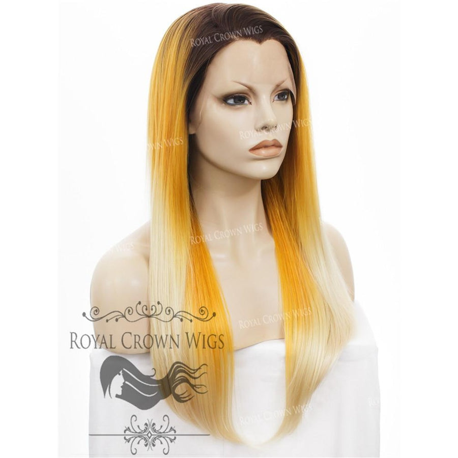 "24 inch Heat Safe Synthetic Straight Texture Lace Front ""Aphrodite"" in Yellow to Blonde Ombre"