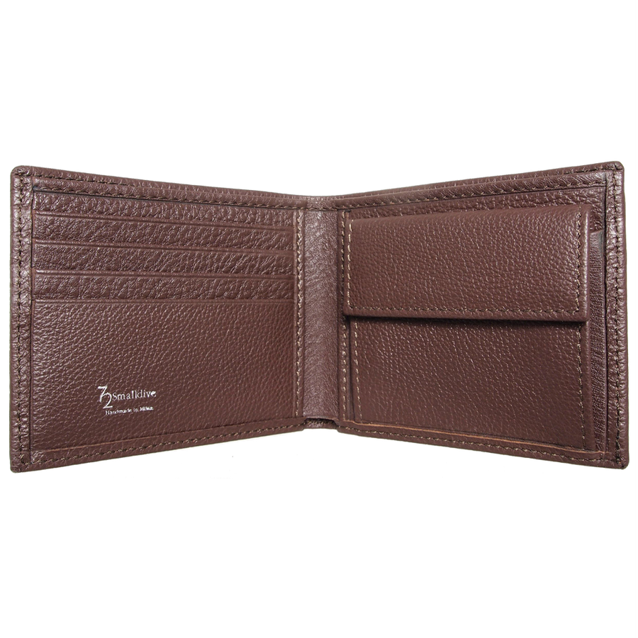 Grained Wallet with Coin Pocket Brown-Men - Accessories - Wallets & Small Goods-72 Smalldive-Très Fancy
