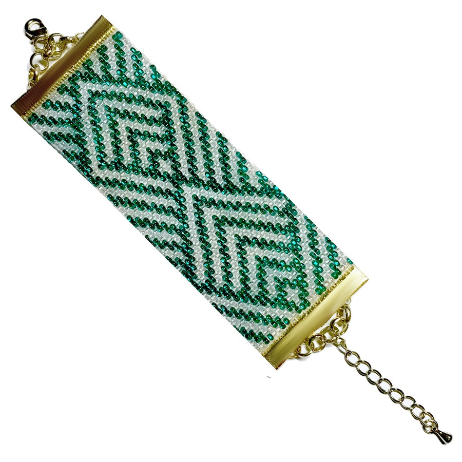 """I Hope She'll Be a Fool"" Handwoven Art Deco Bracelet"