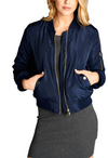 """The Classic"" Navy Blue Padded Bomber Jacket-Women - Apparel - Outerwear - Puffer Coats-A Peace of Mind Jewelry & Boutique-Small-Très Fancy"