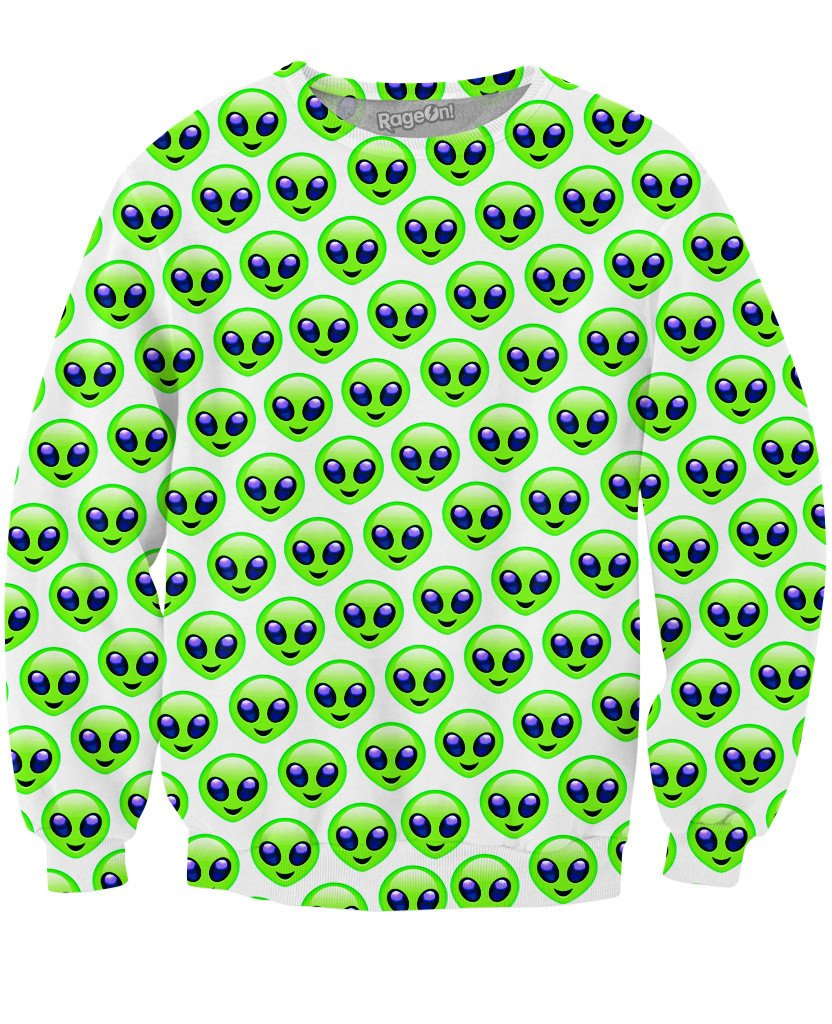 Alien Emoji Pattern Crewneck Sweatshirt-Sweatshirts-LetsRage-X-Small-Multi-Très Fancy