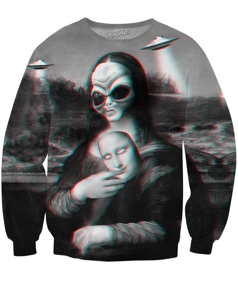 Alien Lisa Sweatshirt-Sweatshirts-LetsRage-X-Small-Multi-Très Fancy