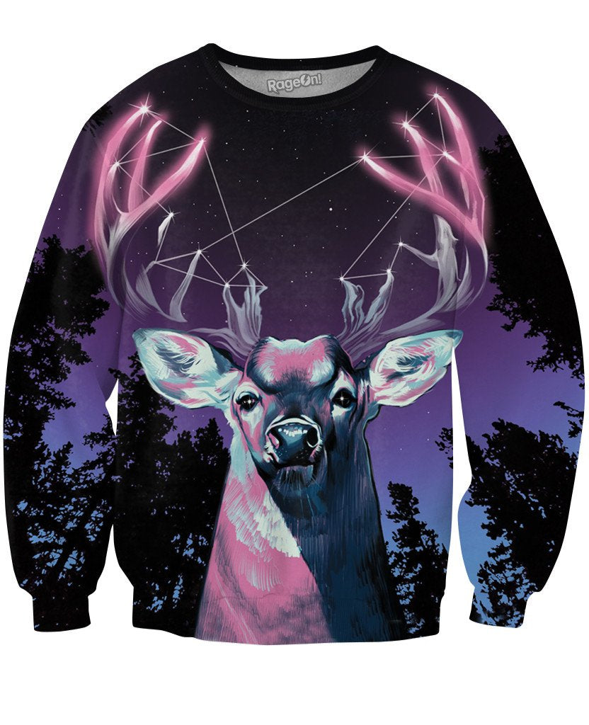 Antler Constellation Crewneck Sweatshirt-Sweatshirts-UrbanThreads-X-Small-Multi-Très Fancy