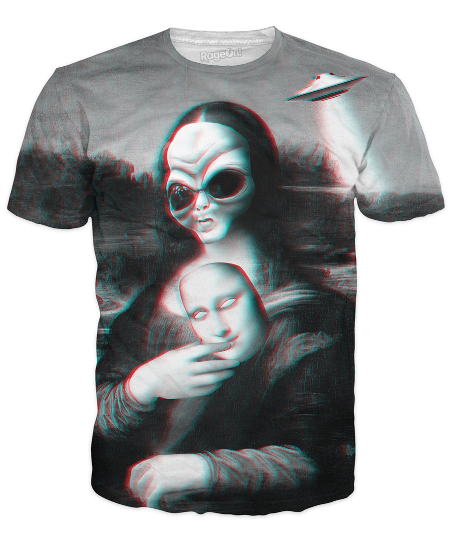 Alien Lisa T-Shirt-T-Shirts-LetsRage-X-Small-Ultra Premium-Multi-Très Fancy