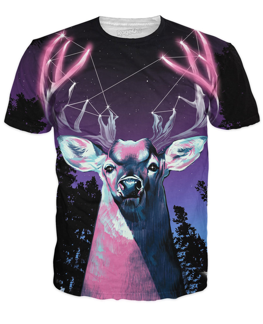 Antler Constellation T-Shirt-T-Shirts-UrbanThreads-X-Small-Ultra Premium-Multi-Très Fancy