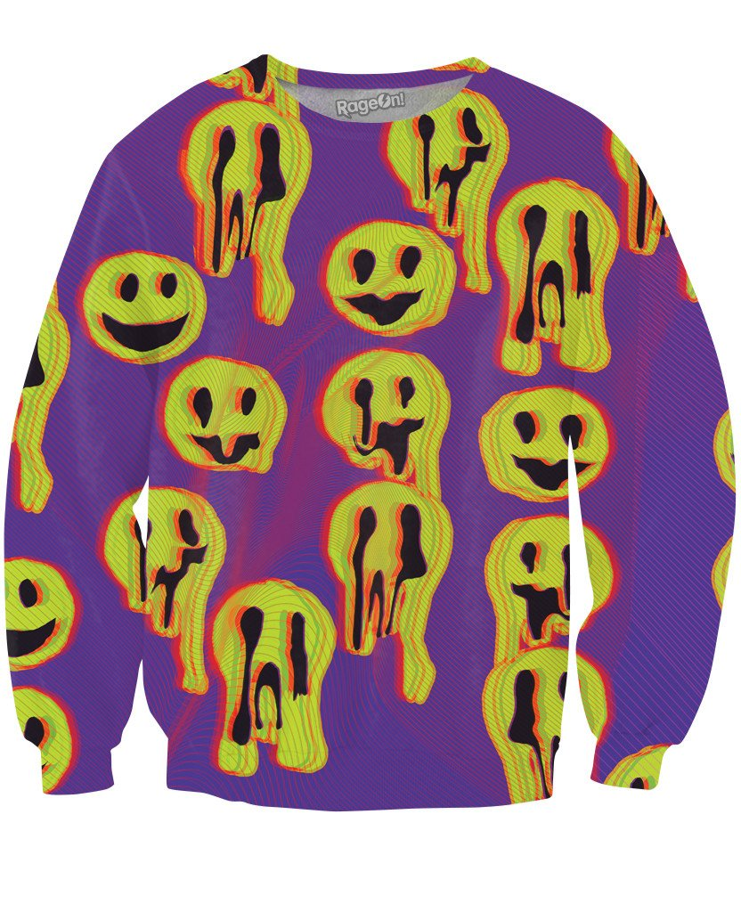 Acid Wax Smile Crewneck Sweatshirt-Sweatshirts-LetsRage-X-Small-Multi-Très Fancy