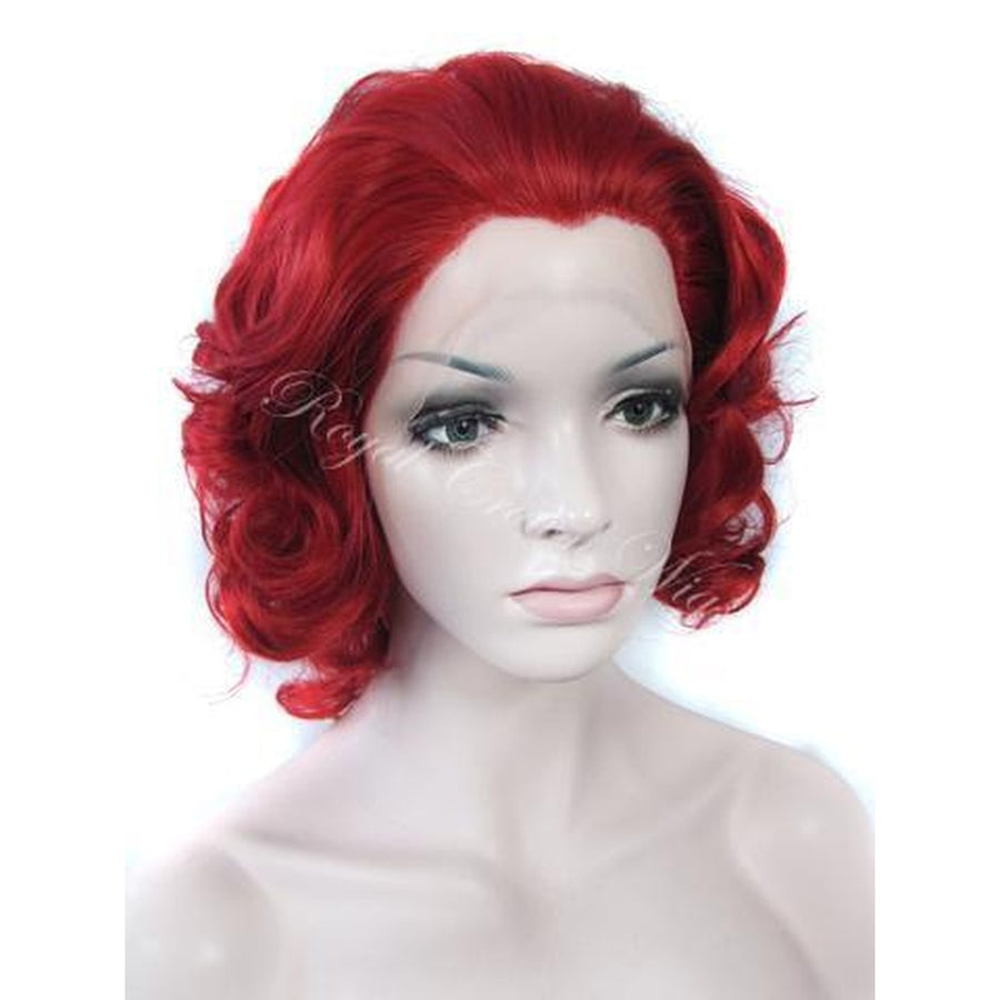 10 inch Synthetic Big Curl Bob Lace Front in Red