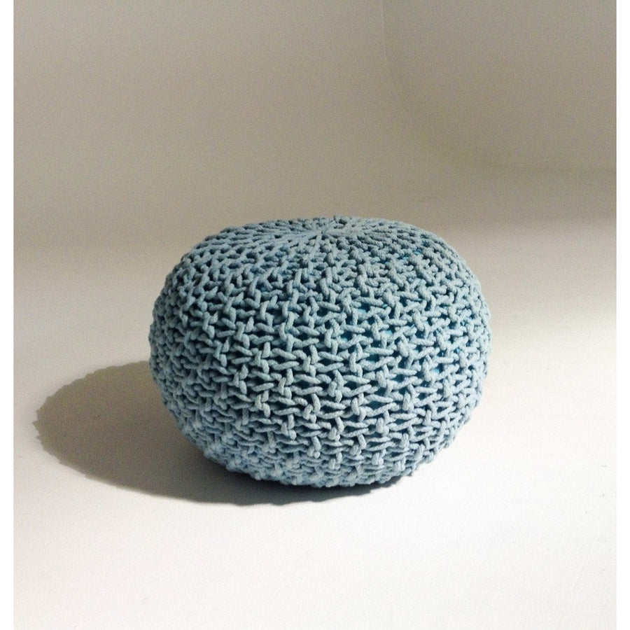 Handmade Round Knitted Pouf | Aquamarine | 50x35cm | GFURN-Home - Furniture-GFURN Design Furniture-Très Fancy