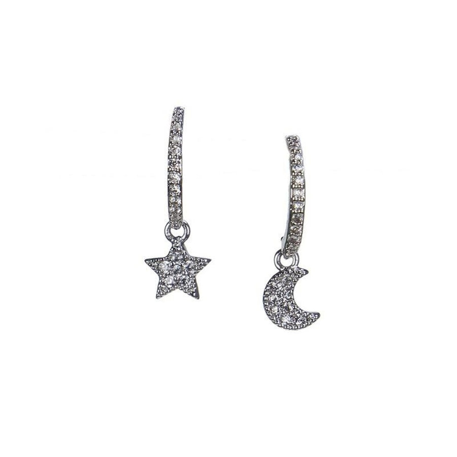 Star and Moon Mismatched Earrings-CZ by Kenneth Jay Lane-Très Fancy