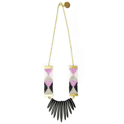 Adorn Necklace (Pink, black and white with black spikes)-Women - Jewelry - Necklaces-Shh by Sadie-Très Fancy