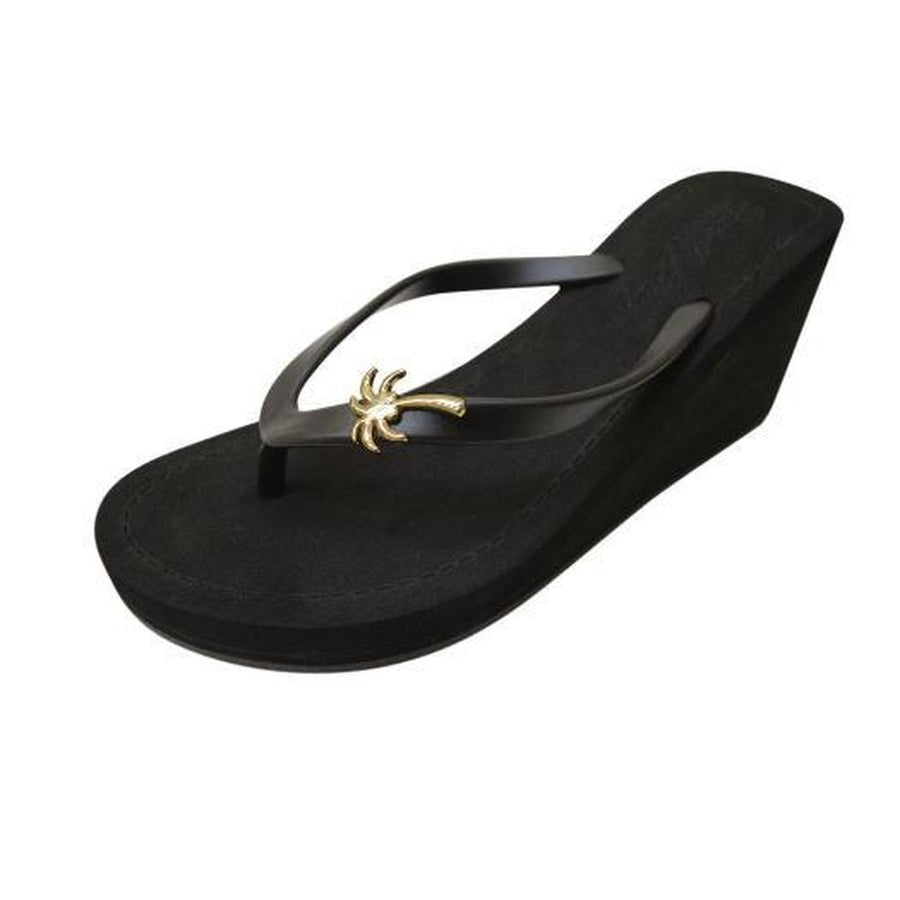 Gold Palm Tree - High Wedge-Women - Shoes - Sandals-Sand by Saya New York-Black-10XL-Très Fancy