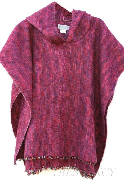 Alpaca Poncho in Berry-Outdoor - Camping & Picnic - Outerwear - Ponchos-Cabin Measures-Très Fancy