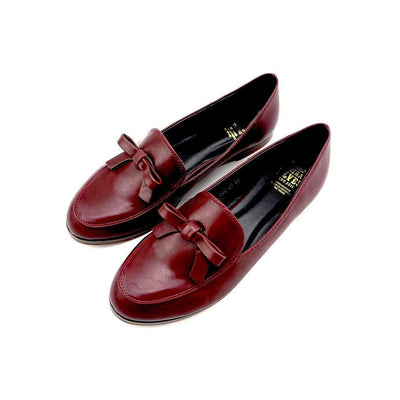 Amber red wine loafers with feminine bow-Women - Shoes - Flats-Seira Elves-UK 3-Très Fancy